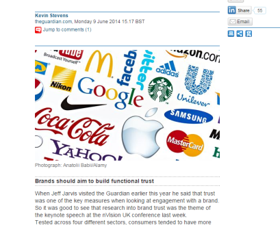 """Up with the latest lingo """"Brands should aim to build functional trust"""" whatever that means."""