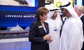 Marillyn. A. Hewson, CEO of Lockheed Martin selling her wares.Blowing stuff up and killing people is big business.
