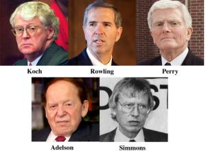 Gatekeepers-old, white and rich: Sheldon Adelson,  Harold Simmons, Bob J. Perry, Robert T. Rowling,  William Koch.