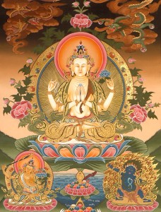 "Avalokiteshvara is the Bodhisattva of compassion and the manifestation of the compassion of all Buddhas. Tibetans call him Chenrezig, meaning ""to look with a merciful eye"""